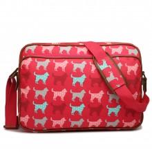 LG1624NDG - Miss Lulu Matte Oilcloth Messenger Bag Dog Plum