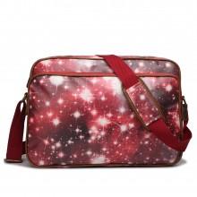 LG1624U - Miss Lulu Matte Oilcloth Messenger Bag Universe Red