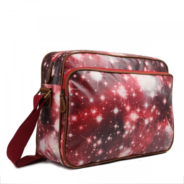 LG1624U - Miss Lulu Matte Oilcloth Messenger Bag Universe Red