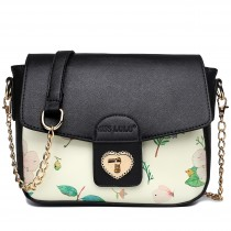 LG1636 - Miss Lulu Leather Style Floral Print Small Cross Body Satchel Black