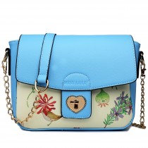 LG1636 - Miss Lulu Leather Style Floral Print Small Cross Body Satchel Blue