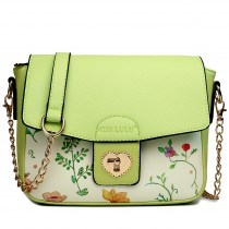 LG1636 - Miss Lulu Leather Style Floral Print Small Cross Body Satchel Green
