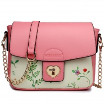 LG1636 - Miss Lulu Leather Style Floral Print Small Cross Body Satchel Pink