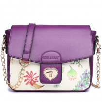 LG1636 - Miss Lulu Leather Style Floral Print Small Cross Body Satchel Purple