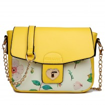 LG1636 - Miss Lulu Leather Style Floral Print Small Cross Body Satchel Yellow