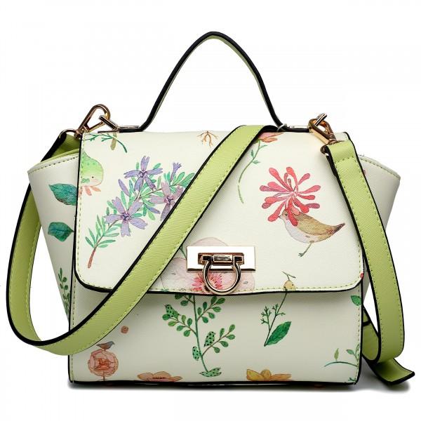LG1637 - Miss Lulu Leather Style Floral Print Winged Satchel Shoulder Bag Green