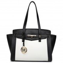 LG1640 - Miss Lulu Leather Look Contrast Winged Shoulder Handbag Black