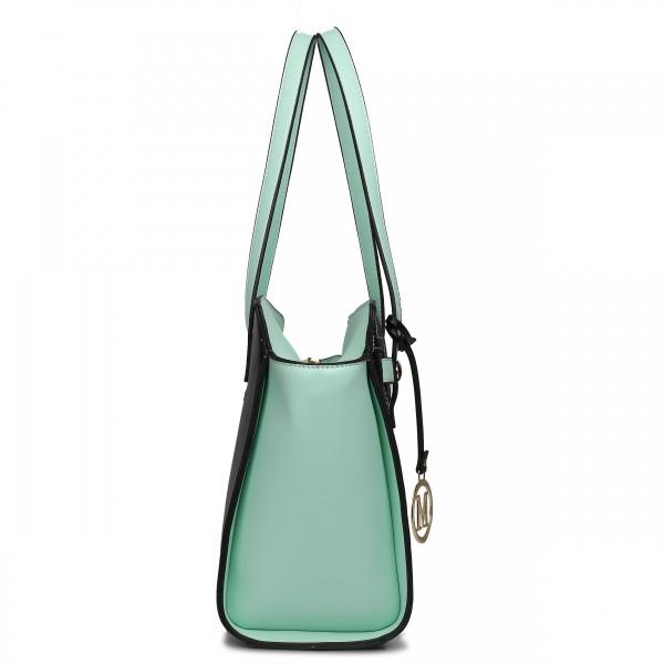 LG1640 - Miss Lulu Leather Look Contrast Winged Shoulder Handbag Green