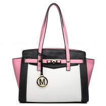 LG1640 - Miss Lulu Leather Look Contrast Winged Shoulder Handbag Pink