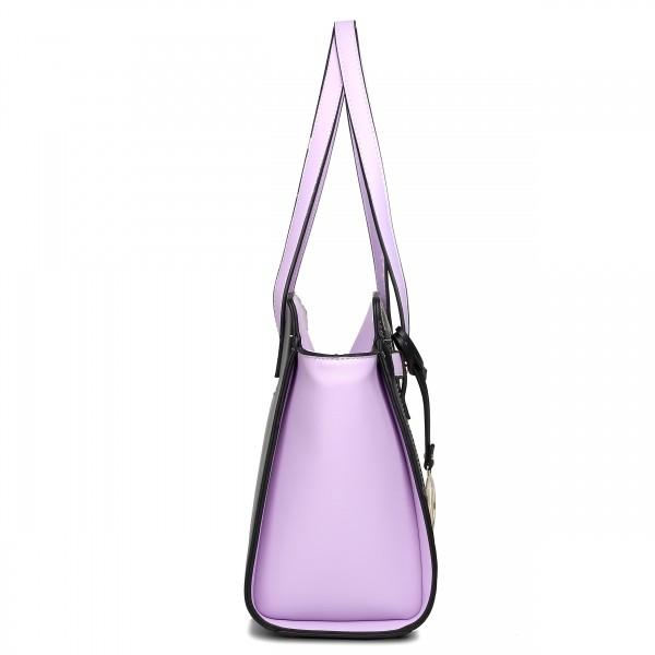 LG1640 - Miss Lulu Leather Look Contrast Winged Shoulder Handbag Purple