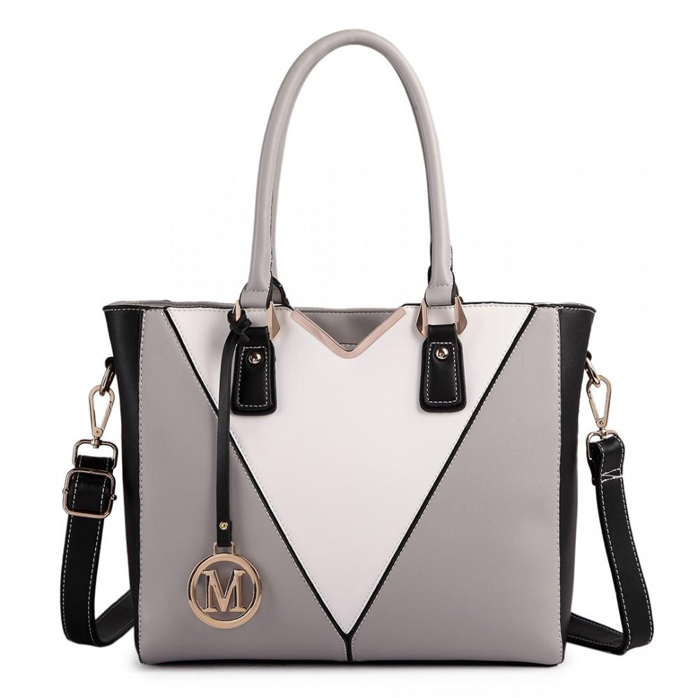 LG1641 - Miss Lulu Leather Look V-Shape Shoulder Handbag Grey 6d864bb629086