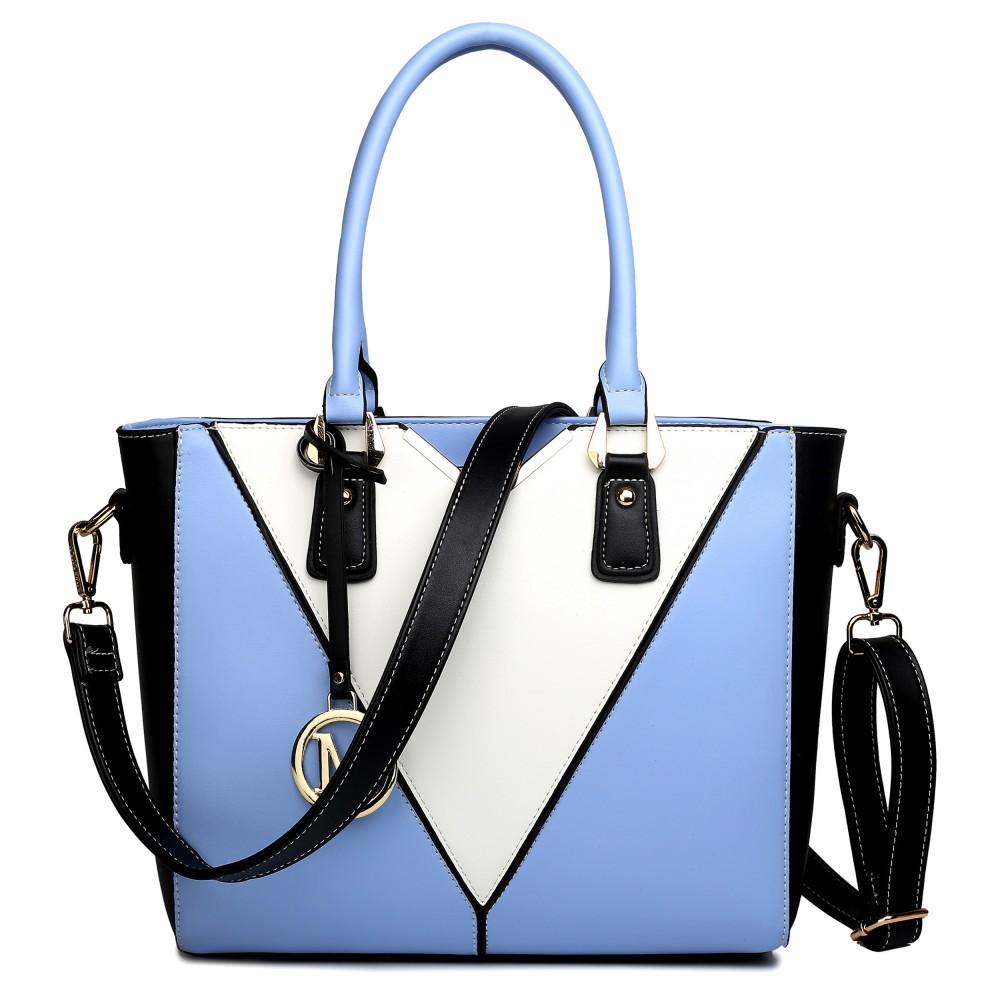 LG1641 - Miss Lulu Leather Look V-Shape Shoulder Handbag Blue a27787f9713db