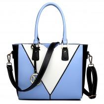 LG1641 - Miss Lulu Leather Look V-Shape Shoulder Handbag Blue
