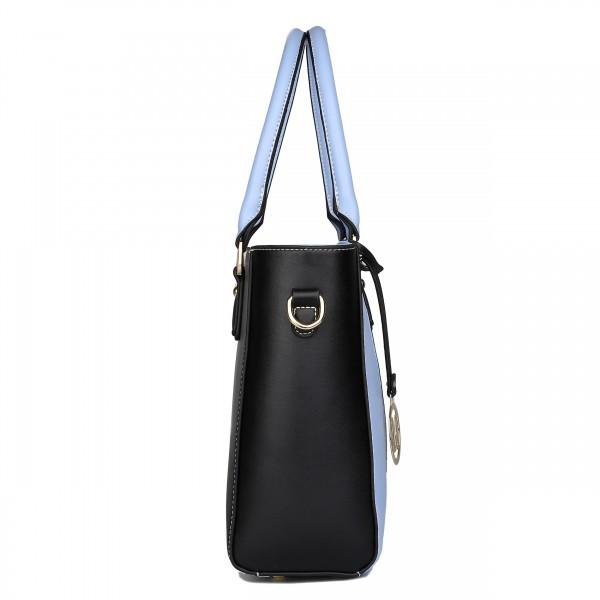 LG1641 - Miss Lulu Leather Look V-Shape Shoulder Handbag - Blue