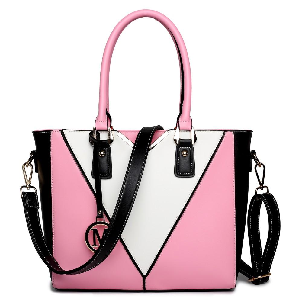 LG1641 - Miss Lulu Leather Look V-Shape Shoulder Handbag Pink cd05acc8dbfc0