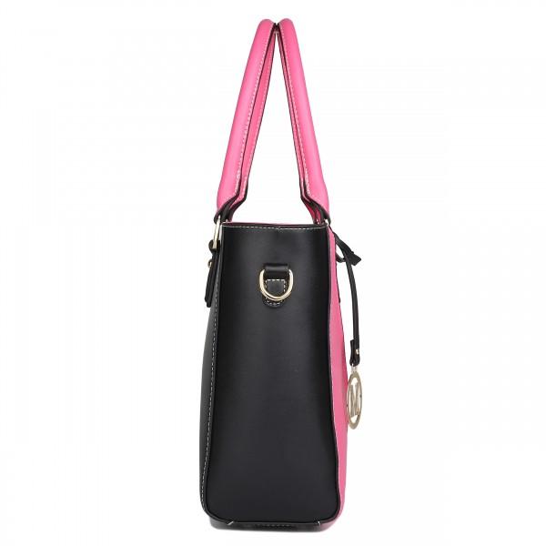 LG1641 - Miss Lulu Leather Look V-Shape Shoulder Handbag - Plum