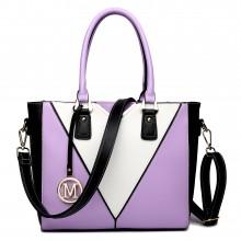 LG1641 - Miss Lulu Leather Look V-Shape Shoulder Handbag Purple