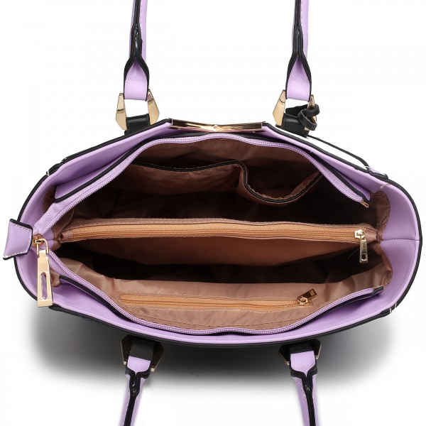 LG1641 - Miss Lulu Leather Look V-Shape Shoulder Handbag - Purple