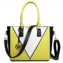 LG1641 - Miss Lulu Leather Look V-Shape Shoulder Handbag Yellow