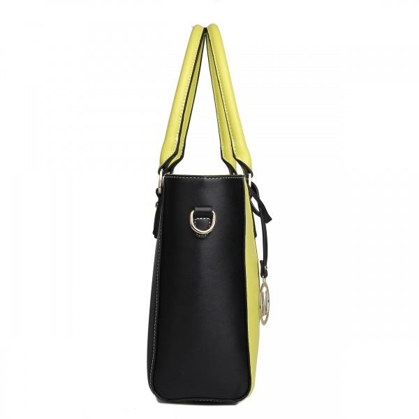 LG1641 - Miss Lulu Leather Look V-Shape Shoulder Handbag - Yellow