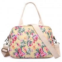 LG1657 - Miss Lulu Floral Print  Matte Coated Shoulder Bag Beige