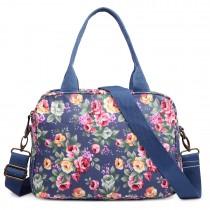 LG1657 - Miss Lulu Floral Print  Matte Coated Shoulder Bag Navy