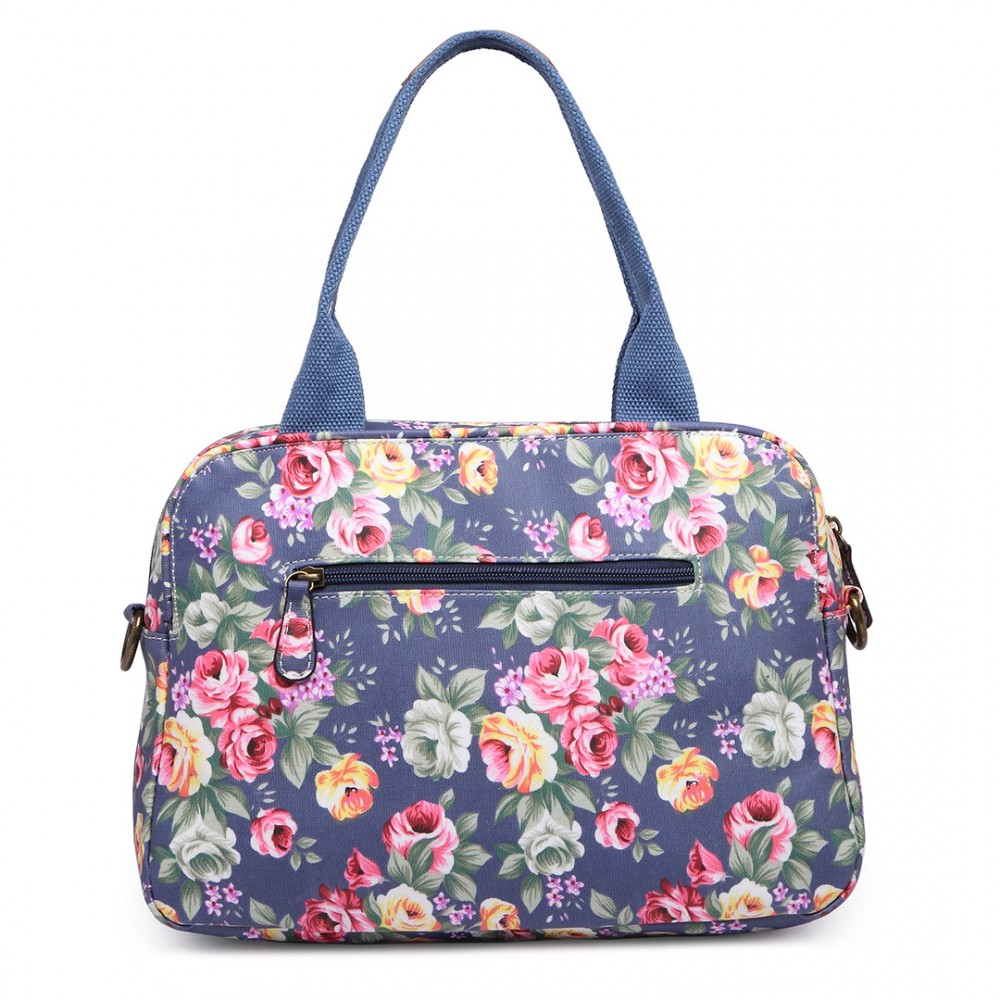 LG1657 - Miss Lulu Floral Print Matte Coated Shoulder Bag Navy