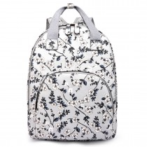 LG1658-16F-Miss LuLu Floral Print Multi Pocket School Bag Backpack gray