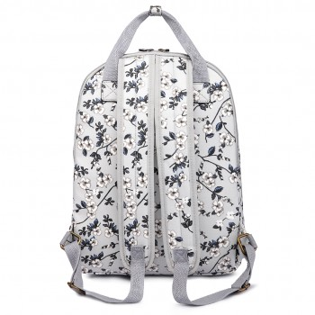 LG1658-16F - Miss Lulu Matte Oilcloth Multi Pocket School Bag Backpack Flower Grey