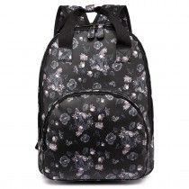 LG1658-16ROSE - Miss Lulu Floral Print Multi Pocket School Bag Backpack Rose Black