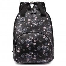 LG1658-16ROSE - Miss Lulu Floral Print Multi Pocket School Bag Backpack Rose Black