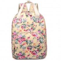 LG1658 --Miss Lulu Matte Oilcloth Multi Pocket School Bag Backpack Floral Beige
