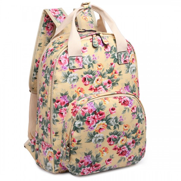 LG1658 - Miss Lulu Matte Oilcloth Multi Pocket School Bag Backpack Floral Beige