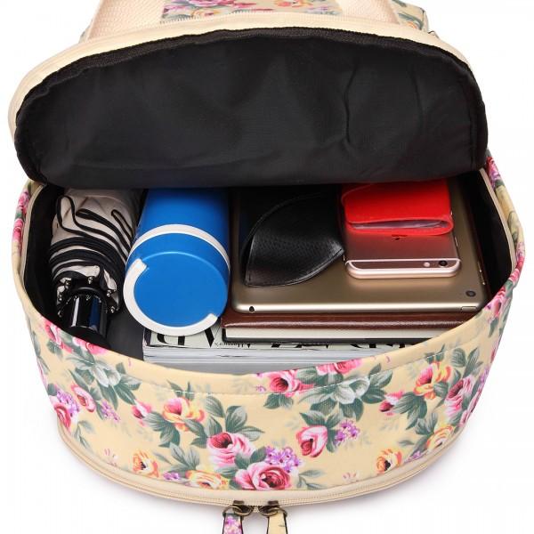 LG1658 - Miss Lulu Matte Oilcloth Multi Pocket School Bag Backpack Floral Beige