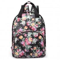 LG1658-Miss LuLu Floral Print Multi Pocket School Bag Backpack Black
