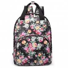 LG1658 - Miss Lulu Matte Oilcloth Multi Pocket School Bag Backpack Floral Black