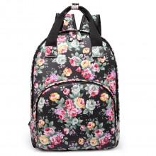 LG1658 - Sac a dos floral Miss Lulu en toile cirée avec poche matelassé en noir
