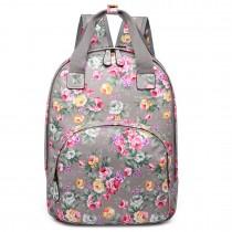 LG1658-Miss LuLu Floral Print Multi Pocket School Bag Backpack Grey
