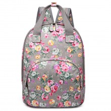 LG1658 - Miss Lulu Matte Oilcloth Multi Pocket School Bag Backpack Floral Grey