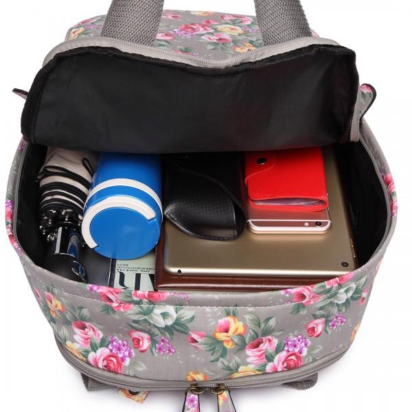 LG1658 - Miss Lulu Matte Oilcloth Multi Pocket School Bag Backpack Floral Grey