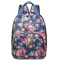 LG1658 - Miss Lulu Oilcloth Multi Pocket School Backpack Flower Navy