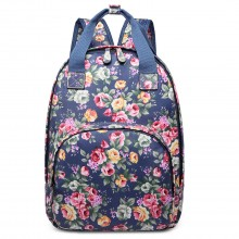 LG1658 - Miss Lulu Matte Oilcloth Multi Pocket School Bag Backpack Floral Navy