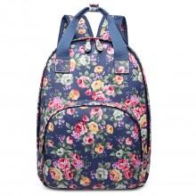 LG1658 - Sac a dos floral Miss Lulu en toile cirée avec poche matelassé en bleu marine