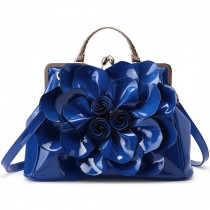 LG1754 BE- Miss Lulu PU Leather Flower Women Large Hobo Handbags Blue