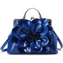 9c8909af99155 LG1754 BE- Miss Lulu Leder Look Schultertasche Blau