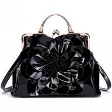 LG1754 BK - Miss Lulu PU Leather Flower Women Large Hobo Handbags Black
