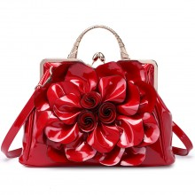 LG1754 BY - Miss Lulu PU Leather Flower Women Large Hobo Handbags Burgundy