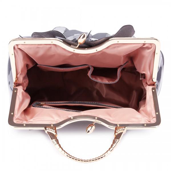 LG1754 GY - Miss Lulu PU Leather Flower Women Large Hobo Handbags Grey