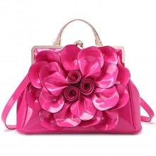 LG1754 PM - Miss Lulu PU Leather Flower Women Large Hobo Handbags Plum