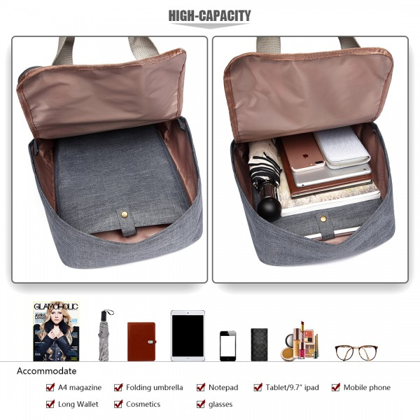 LG1807-Retro Backpack School Bag Travel Rucksack Laptop Bag Grey